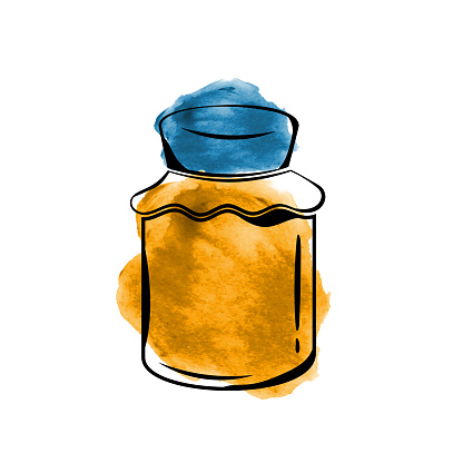 Watercolor Honey Jar icon isolated on white background. Vector