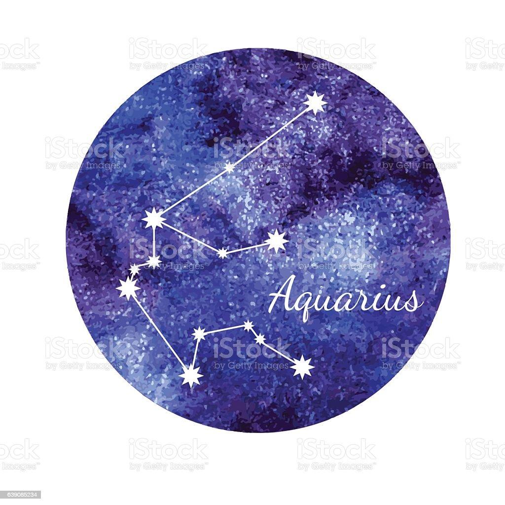 Watercolor horoscope sign Aquarius vector art illustration