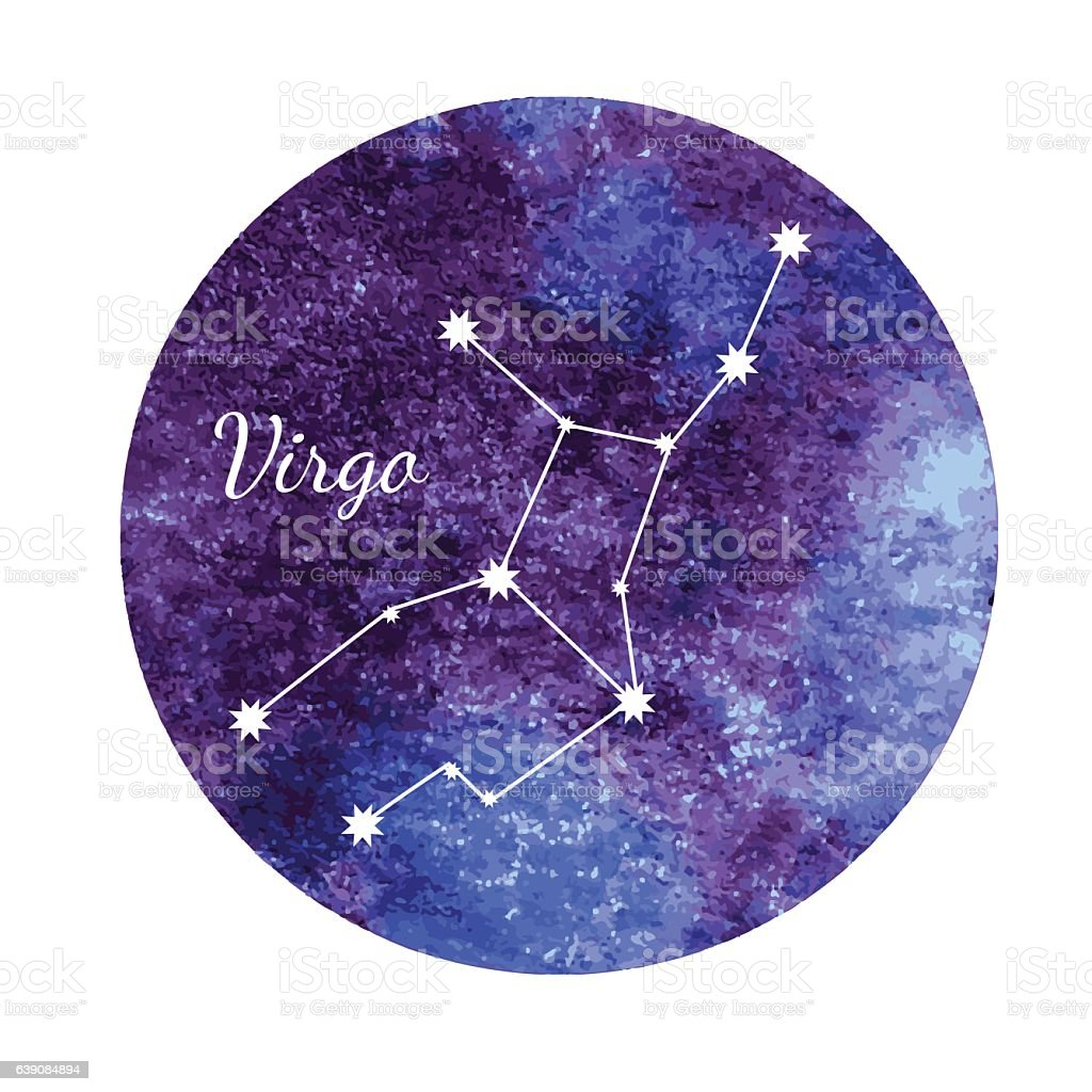 Watercolor horoscope sign Virgo vector art illustration