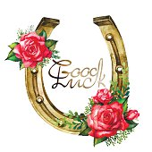 Watercolor horseshoes in golden color with red roses design
