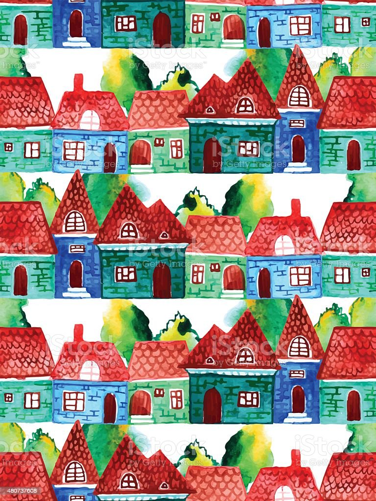 Watercolor houses royalty-free watercolor houses stock vector art & more images of 2015
