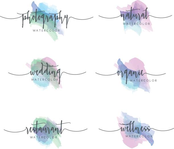 watercolor icon set - femininity stock illustrations
