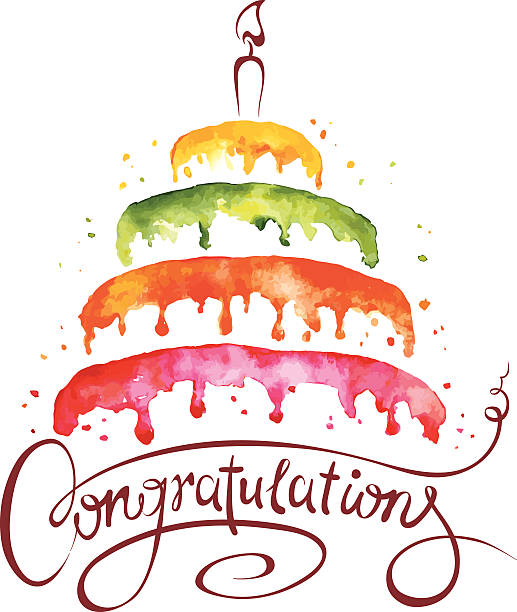 watercolor illustration -- cake and congratulations - happy birthday cake stock illustrations, clip art, cartoons, & icons