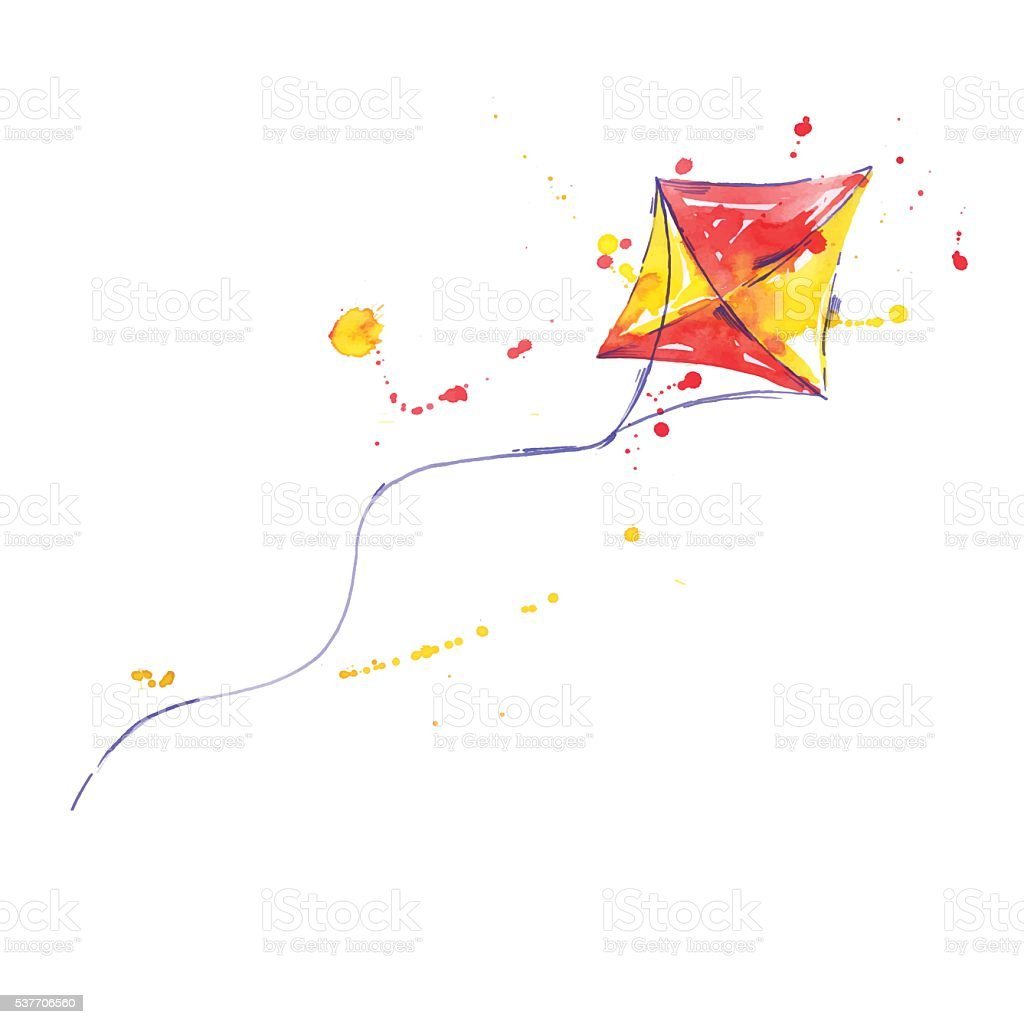 Watercolor illustration of a kite. Vector.