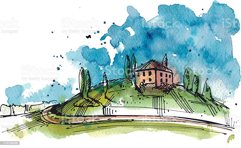 Aquarelle illustration de la Toscane hill - Illustration vectorielle