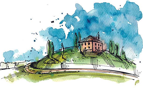 Aquarelle illustration de la Toscane hill - Illustration vectorielle