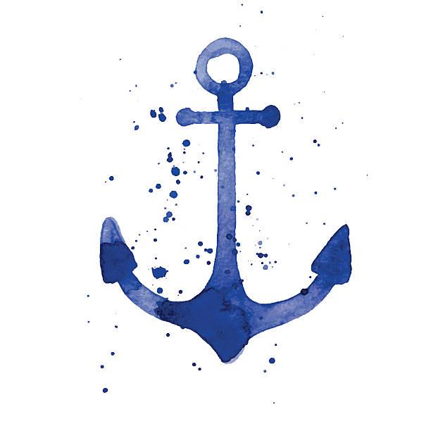 Watercolor illustration of an anchor vector art illustration