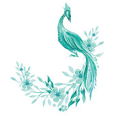 Watercolor illustration of bird on blooming branch