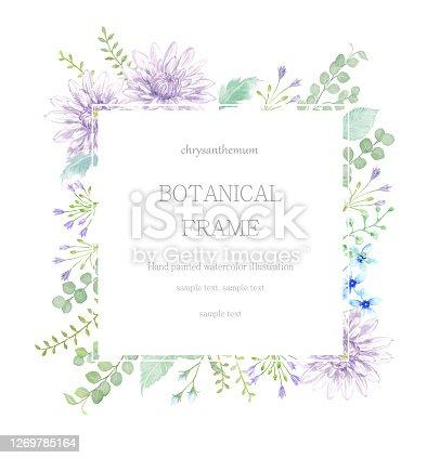 istock Watercolor illustration  of chrysanthemum frame. 1269785164
