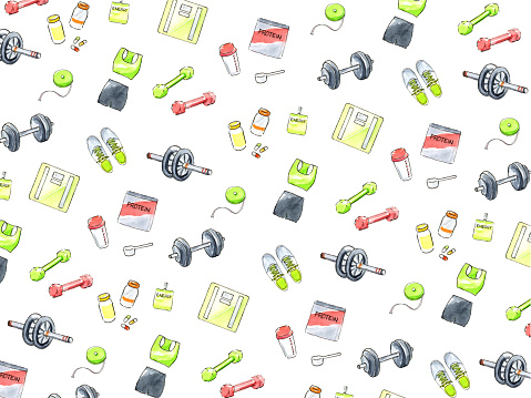 Watercolor illustration of diet item background.