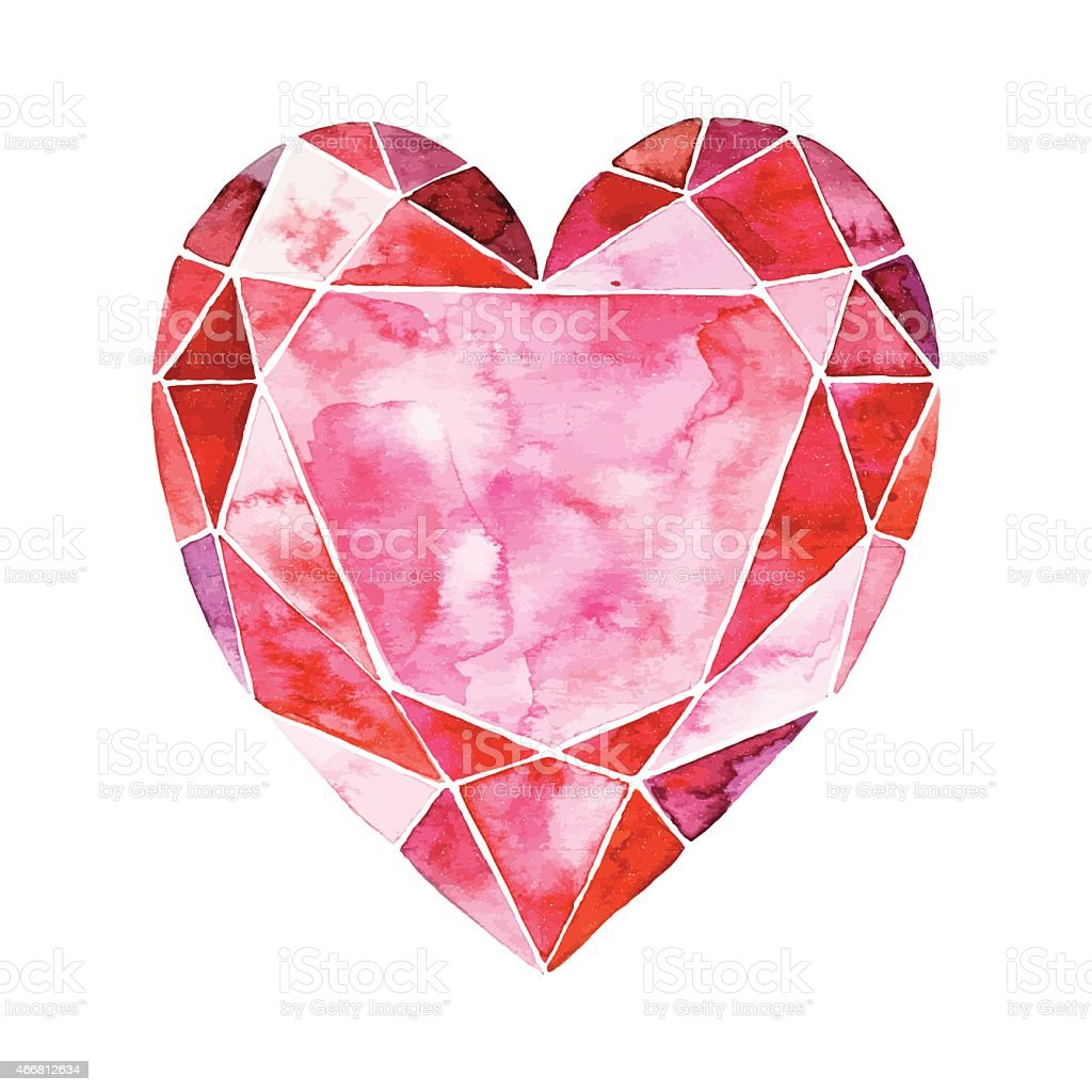 Watercolor illustration of heart in the form of a diamond vector art illustration