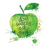istock Watercolor illustration of isolated apple. 483796416