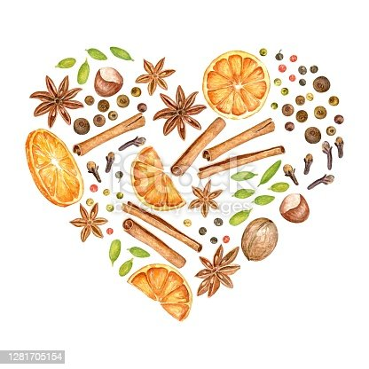 istock Watercolor illustration of mulled wine ingredients: oranges, anise stars, pepper, cloves, nuts and cinnamon sticks. Element for autumn and christmas design. Vector 1281705154