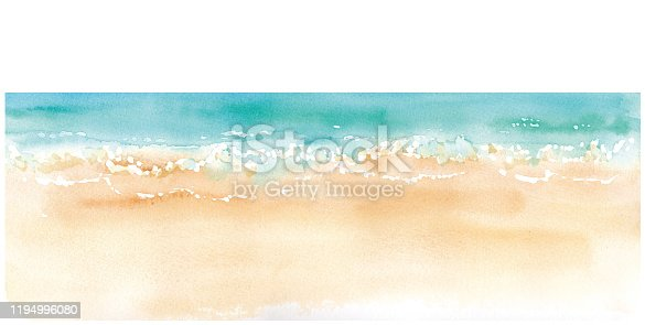 istock Watercolor illustration of sandy beach and horizon. Trace vector 1194996080