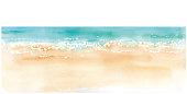 Watercolor illustration of sandy beach and horizon. Trace vector