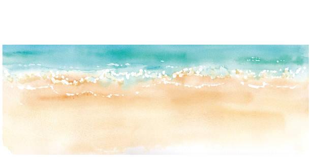 aquarell-illustration von sandstrand und horizont. spurenvektor - beach stock-grafiken, -clipart, -cartoons und -symbole