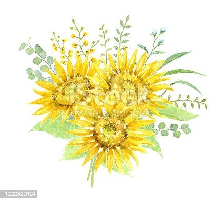 Watercolor illustration of sunflower bouquet.