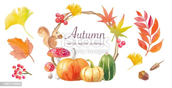 Watercolor illustration of Thanksgiving or Halloween decoration pumpkin and wreath made from autumn natural materials. Vector material. The layout can be changed.