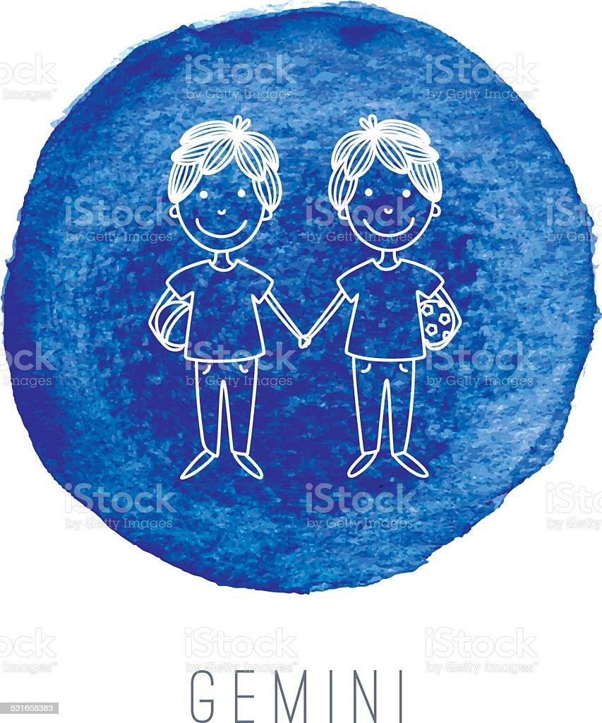 Watercolor ilustración de los twins (Gemini) - ilustración de arte vectorial
