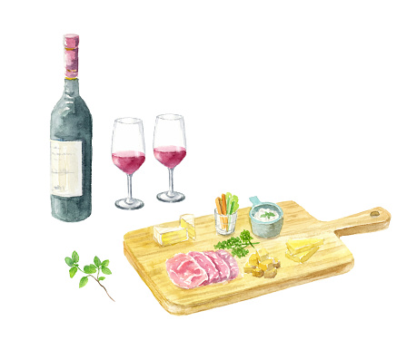 Watercolor illustration of wine and cheese platter.