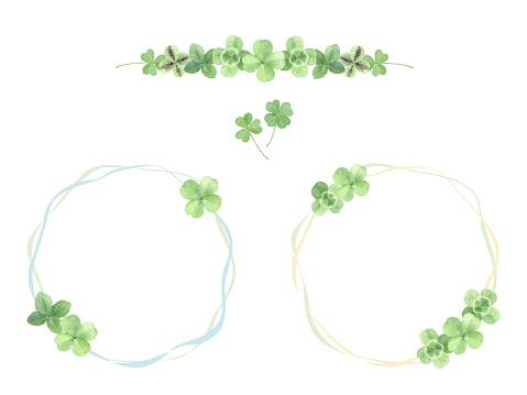 Watercolor illustration  set of four leaf clover.