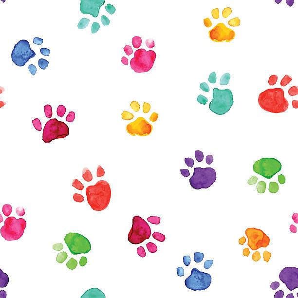 Watercolor ilustración con huellas de animales - ilustración de arte vectorial