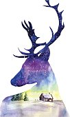 Hand drawn watercolor illustration with a silhouette of Christmas deer with beautiful winter night landscape with countryside house, trees and sparkling snowlakes. Bright card, poster and print design.