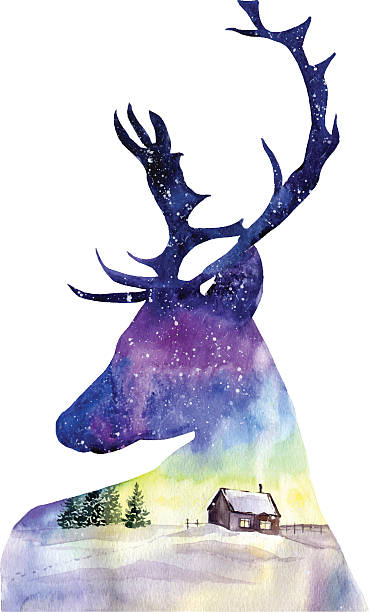 illustrations, cliparts, dessins animés et icônes de watercolor illustration with christmas deer and northern landscape. - renne