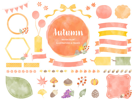 Watercolor illustrations and frames in autumn colors /  Maple , red leaves, Pumpkin / For Labels, Badges, Icons, Banners etc.