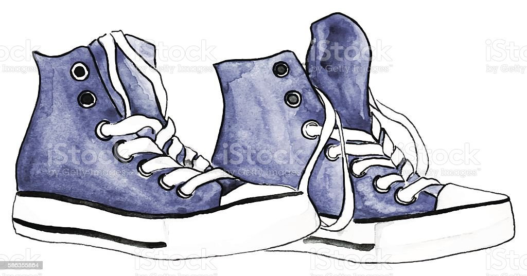 Watercolor indigo denim sneakers pair shoes isolated vector
