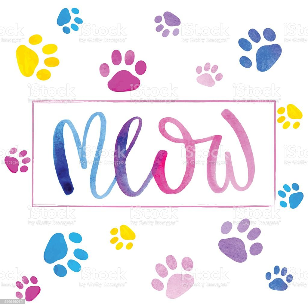 Watercolor inscription'meow' and cat paws print. vector art illustration