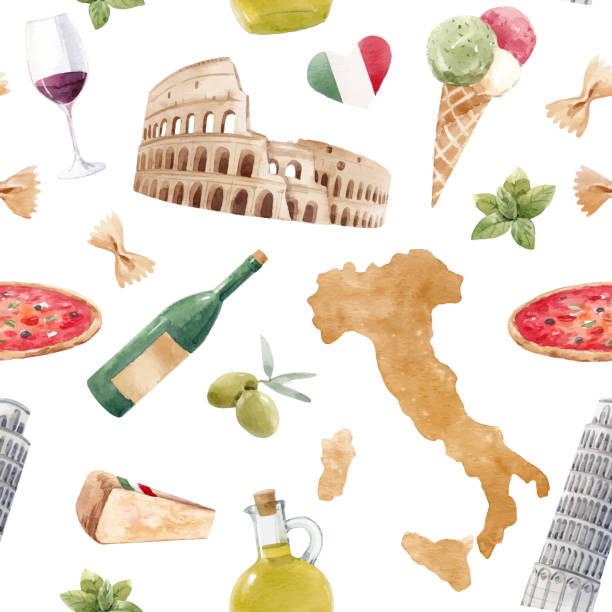 aquarell italienische vektormuster - toskana stock-grafiken, -clipart, -cartoons und -symbole