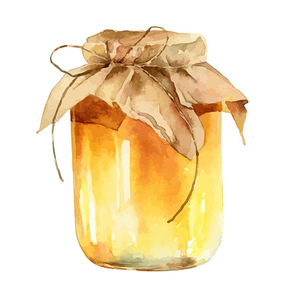 Watercolor jar of honey on white background