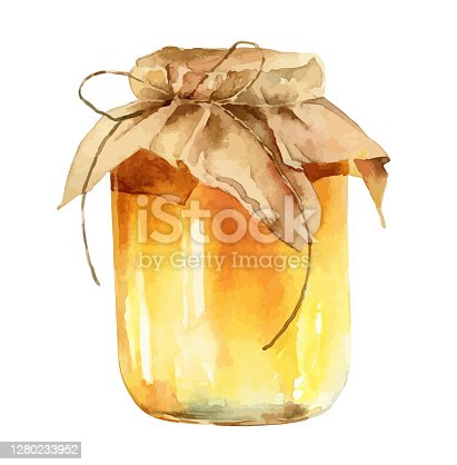istock Watercolor jar of honey on white background 1280233952