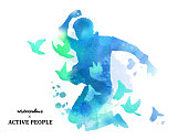 Watercolor jumping silhouette