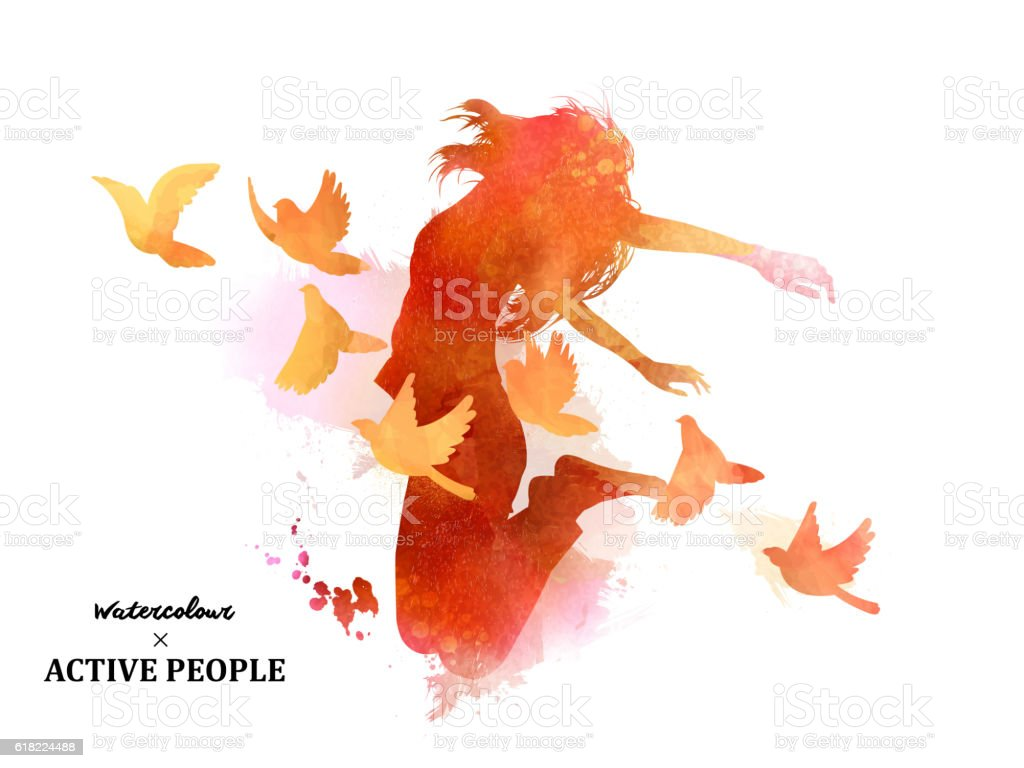 Watercolor jumping silhouette vector art illustration