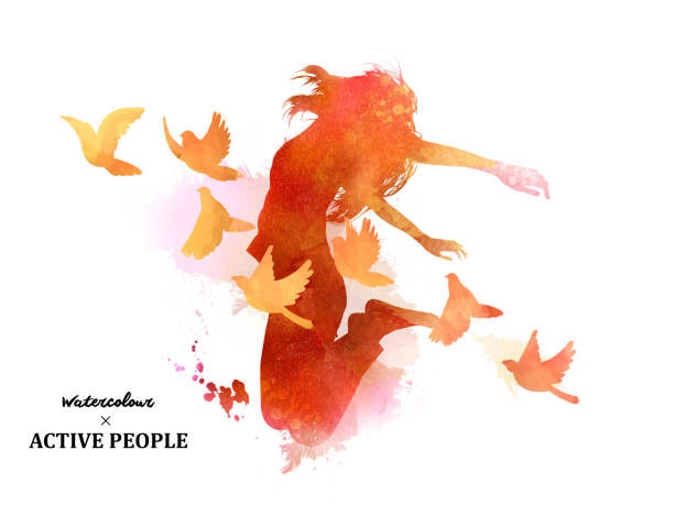 Watercolor jumping silhouette Watercolor jumping silhouette, young girl jumping with pigeons around her in watercolor style. bird backgrounds stock illustrations