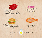 Set of watercolor labels lettering steak house, sweet candy, burger, fish, eggs forever drawing on kraft background