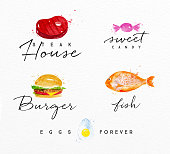 Set of watercolor labels lettering steak house, sweet candy, burger, fish, eggs forever drawing on watercolor background