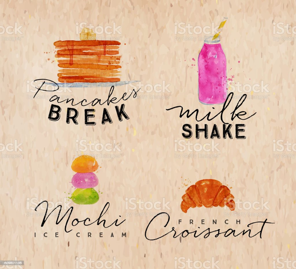 Watercolor label croissant kraft vector art illustration