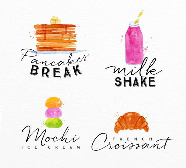 watercolor label croissant - パンケーキ点のイラスト素材/クリップアート素材/マンガ素材/アイコン素材