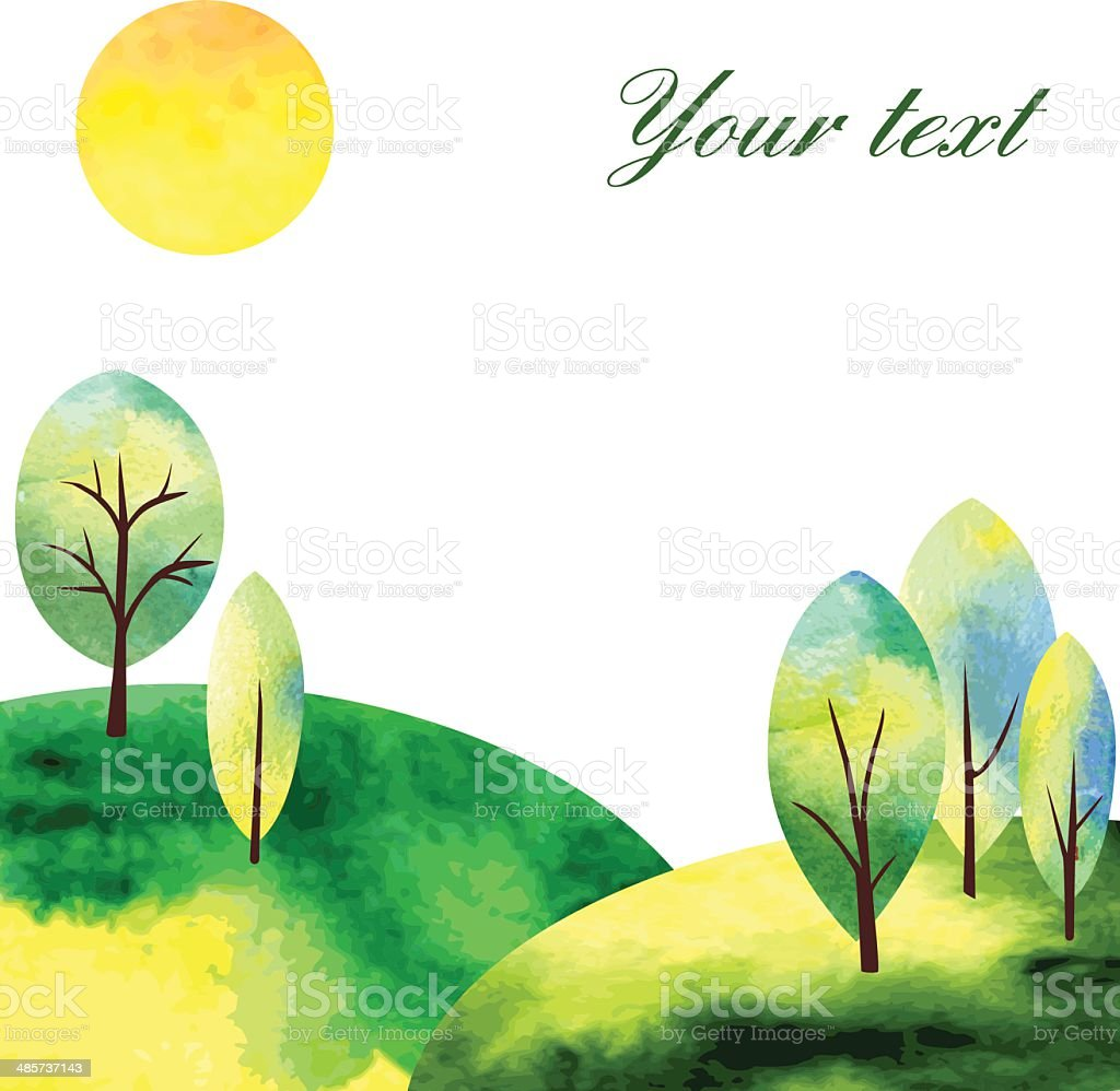 watercolor landscape witj tree and sun vector art illustration