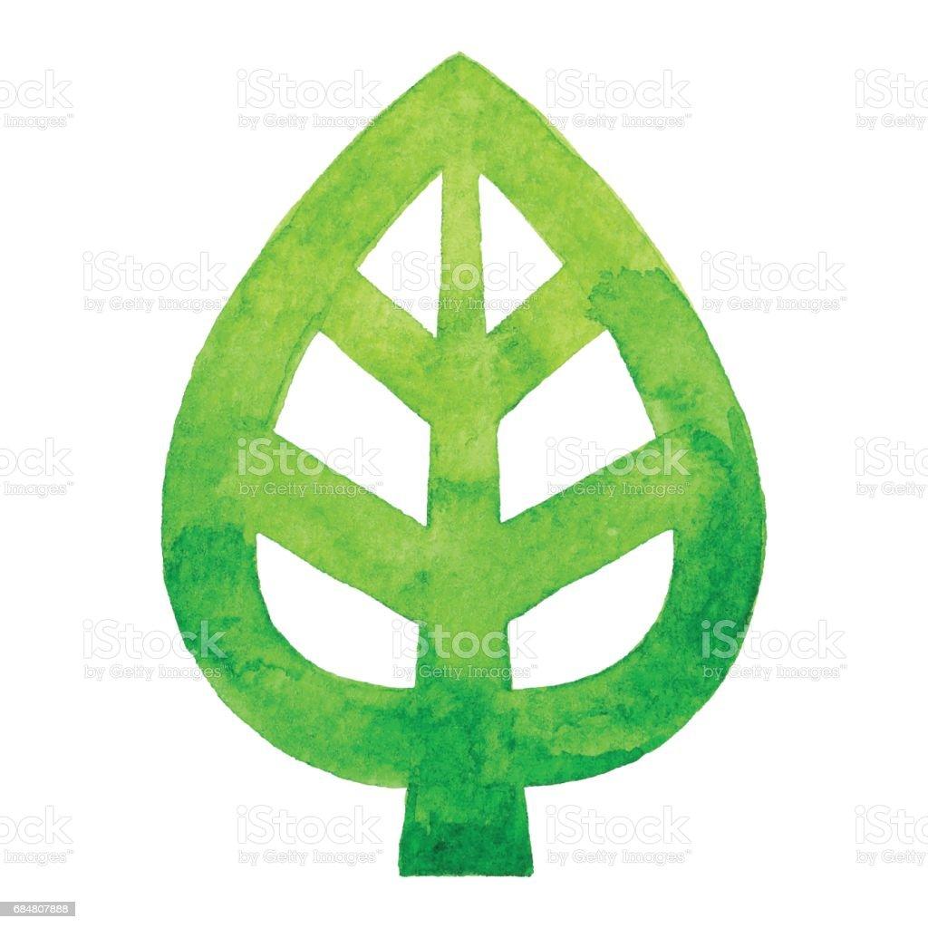 Logo de feuille aquarelle - Illustration vectorielle