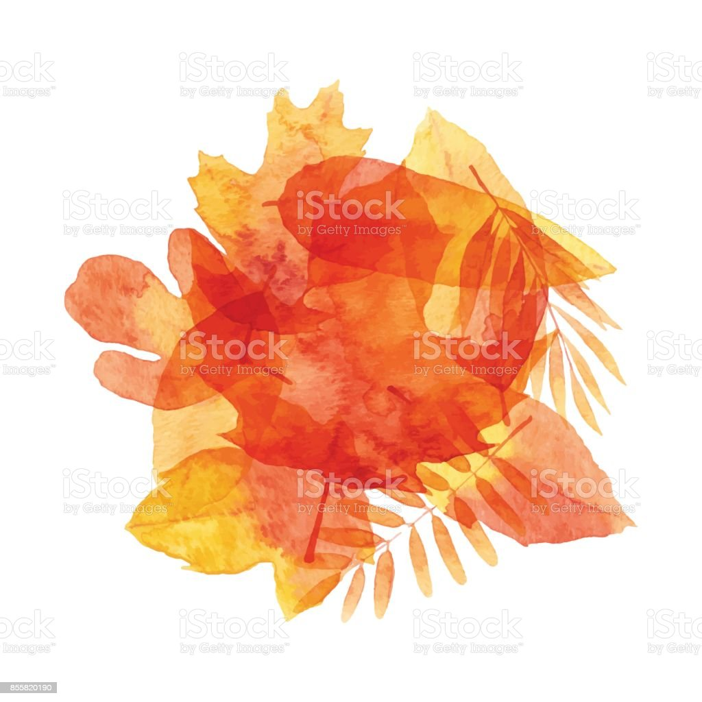 Watercolor Leaves Background vector art illustration