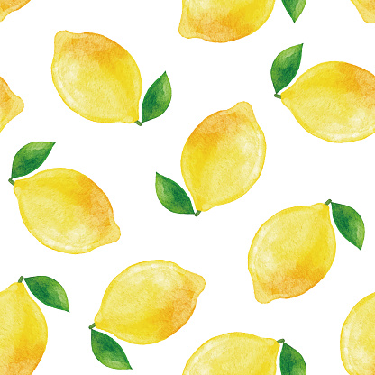 Watercolor Lemon Seamless Pattern