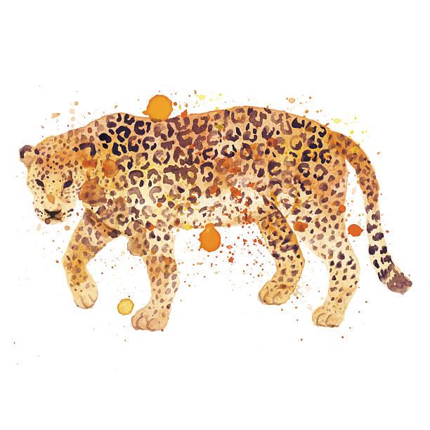 ウォーターカラーのレオパード - 野生動物旅行点のイラスト素材/クリップアート素材/マンガ素材/アイコン素材