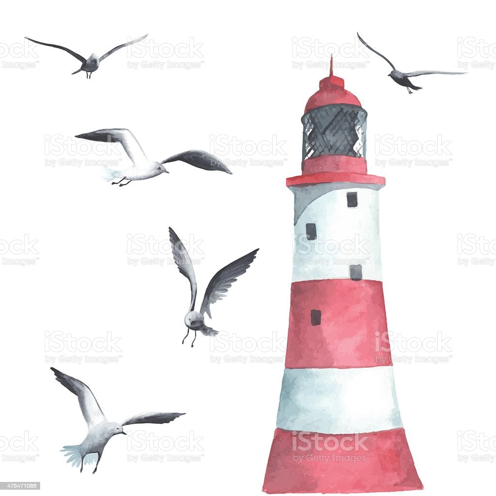 Watercolor lighthouse and seagulls vector art illustration