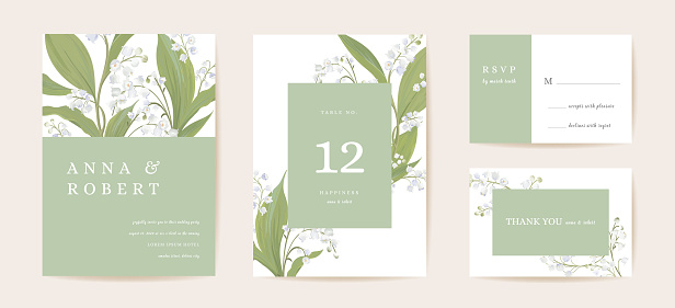 Watercolor lily floral wedding card. Vector spring flower, rustic blossom, leaves invitation. Boho template frame. Botanical Save the Date foliage cover, modern design poster