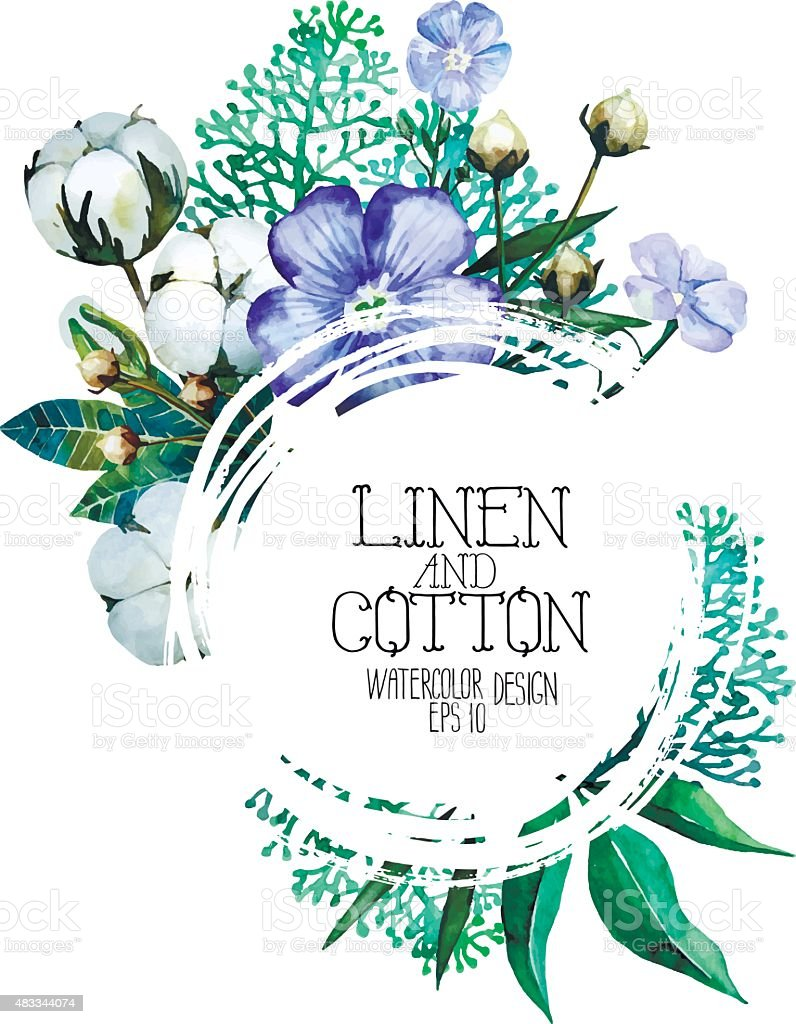 Watercolor linen and cotton design vector art illustration