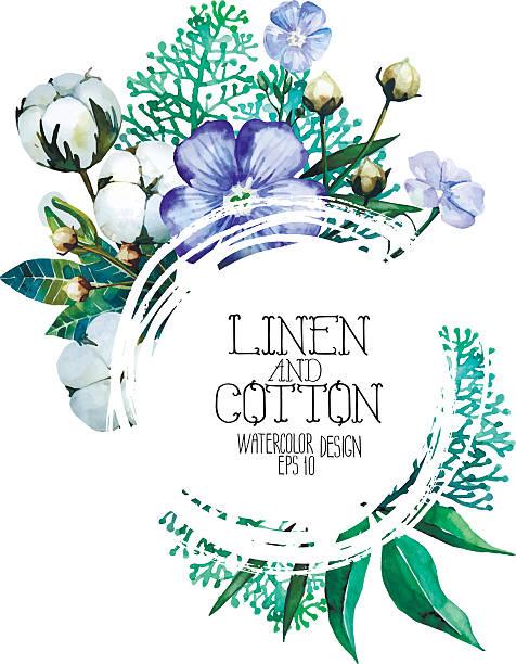 watercolor linen and cotton design - cotton stock illustrations, clip art, cartoons, & icons